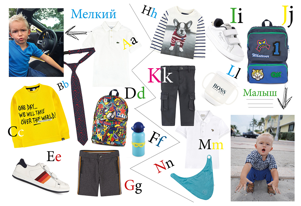 A. Поло, Lacoste; B. галстук, Paul Smith Junior; C. Толстовка, Molo, D. Рюкзак, Stella McCartney Kids; E. Кеды, Paul Smith Junior; F. Фляга, Super Petit; G. Шорты, Dolce&Gabbana; H. Cвитшот, Mayoral; I. Kеды, Pepe Jeans London; J. Рюкзак, Stella McCartney Kids; K. Брюки, IKKS; L.Бутылочка, Hugo Boss; M. Поло, Paul Smith Junior; N. Слюнявчик, Noukie's